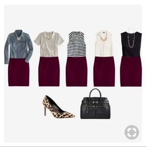 H&M Maroon burgundy scalloped pencil skirt